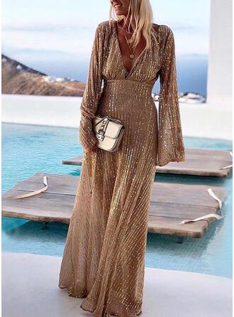 Cekiny/Jednolita Długie rękawy W kształcie litery A Przyjęcie Maxi Sukienki