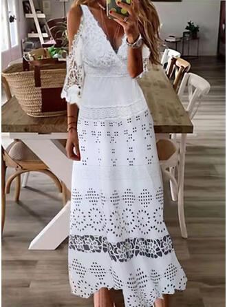 Jednolity Koronka Rękawy 1/2 cold ramion rękaw Sukienka Trapezowa Łyżwiaż Nieformalny Maxi Sukienki