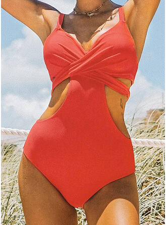 Solid Color Cross Strap V-Neck Sexy Fashionable Eye-catching One-piece Swimsuits
