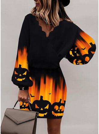 Halloween Nadruk/Zwierzę Długie rękawy Bat Sleeve Bodycon Nad kolana Impreza Sukienki
