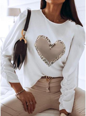 Serce Nadruk cekiny Okrągły dekolt Długie rękawy T-shirty