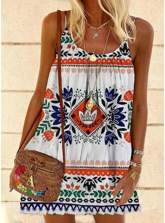 Print/Floral Sleeveless Shift Above Knee Boho Slip Dresses