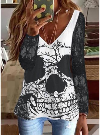 Halloween Nadruk Dekolt w kształcie litery V Długie rękawy T-shirty