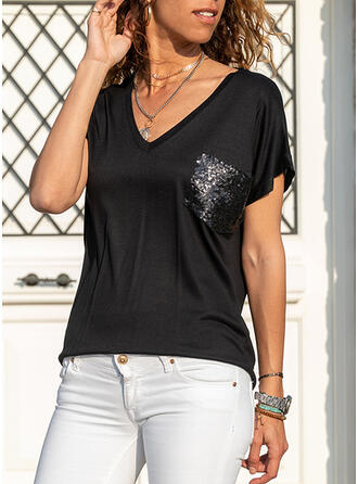 Sequins Solid V-Neck Short Sleeves T-shirts