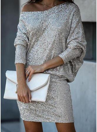 Cekiny Długie rękawy Bodycon Nad kolana Przyjęcie/Elegancki Sukienki