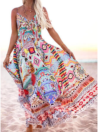 Print Sleeveless A-line Slip/Skater Boho/Vacation Maxi Dresses