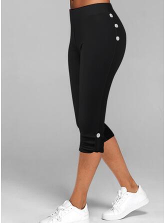 Jednolity Capris Nieformalny Duży rozmiar Przycisk Spodnie