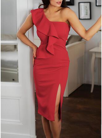 Jednolita Bez rękawów Bodycon Przyjęcie/Elegancki Midi Sukienki