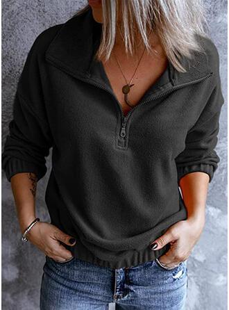 Jednolity Lapel Długie rękawy Bluza