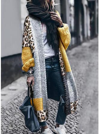 Color Block Leopard Casual Long Cardigan