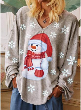 Nadruk Dekolt w kształcie litery V Długie rękawy Casual Boże Narodzenie T-shirty
