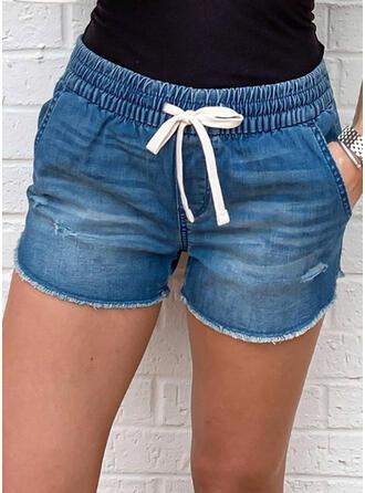 Jednolity Nieformalny Zabytkowe Duży rozmiar Pocket shirred drawstring Spodnie Szorty Dżinsy