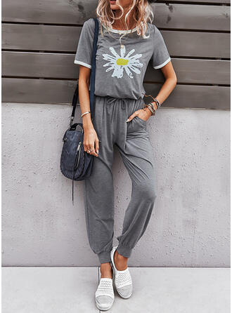 Floral Print Casual Sporty Suits