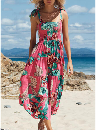 Nadruk Bez Rękawów Sukienka Trapezowa Łyżwiaż Nieformalny Midi Sukienki