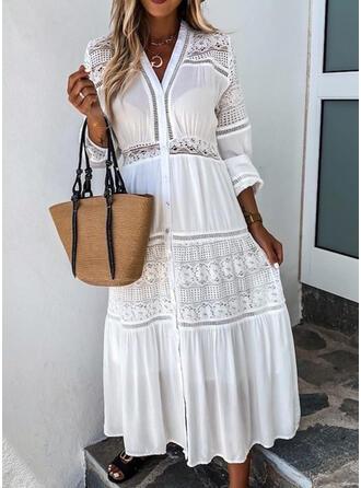 Koronka/Jednolita Długie rękawy W kształcie litery A Mała czarna/Casual/Elegancki Maxi Sukienki