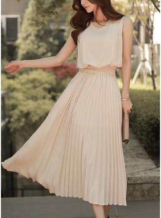 Jednolita Bez rękawów W kształcie litery A Wintage/Casual Midi Sukienki