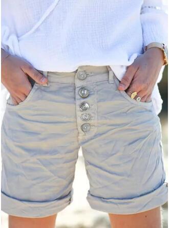 Jednolity Nad kolanem Nieformalny Duży rozmiar Pocket shirred Przycisk Spodnie Szorty