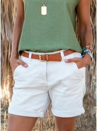 Jednolity Nad kolanem Nieformalny Duży rozmiar Pocket Spodnie Szorty