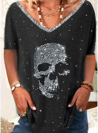 Print Sequins V-Neck Short Sleeves T-shirts