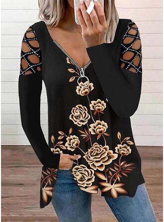 Kwiatowy Nadruk Zimne ramię Długie rękawy T-shirty