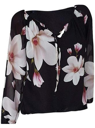 Kwiatowy Dekolt w kształcie litery V Długie rękawy Casual Elegancki Bluzki