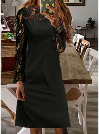 Jednolity Koronka Długie rękawy Pokrowiec Nad kolana Mała czarna/Nieformalny Sukienki