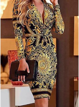 Print Long Sleeves Bodycon Knee Length Vintage Pencil Dresses