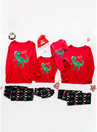 Letter Cartoon Print Family Matching Christmas Pajamas