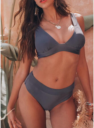 Solid Color High Waist Strap V-Neck Beautiful Casual Bikinis Swimsuits