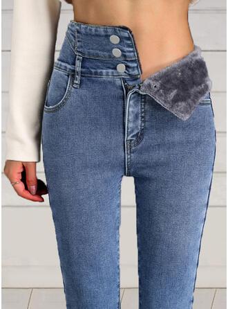 Shirred Elegant Sexy Denim & Jeans