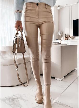 Jednolity Poliuretan Długo Nieformalny Duży rozmiar Biuro / Biznes Pocket Spodnie