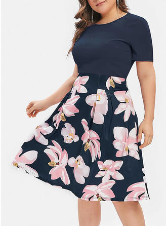 Plus Size Floral Print Short Sleeves A-line Knee Length Casual Elegant Dress