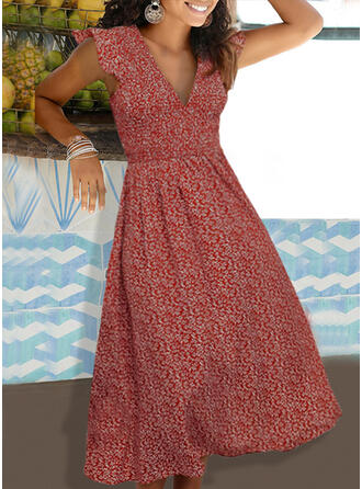 Nadrukowana/Kwiatowy Rękawy z kapturkami W kształcie litery A Casual/Wakacyjna Midi Sukienki