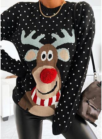 Damskie Mieszanki bawełny Renifer Brzydki świąteczny sweter