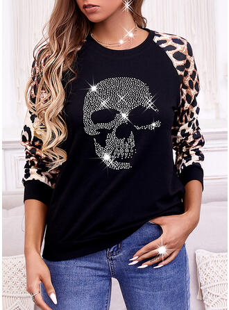 Nadruk lampart Skull Head Okrągły dekolt Długie rękawy Bluza