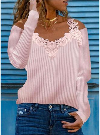 Jednolity Koronka Zimne ramię Nieformalny Swetry