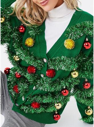 Damskie Poliester Równina Brzydki świąteczny sweter