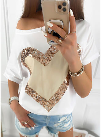Print Sequins Heart One-Shoulder Short Sleeves Casual T-shirts