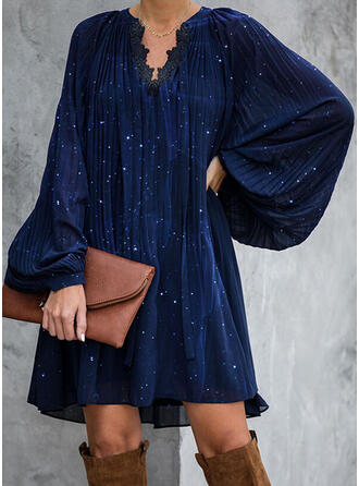 Lace/Sequins/Solid Long Sleeves Shift Above Knee Elegant Tunic Dresses