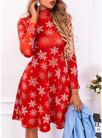 Boże Narodzenie Nadruk Długie rękawy Sukienka Trapezowa Nad kolana Elegancki Łyżwiaż Sukienki