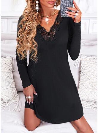 Jednolity Koronka Długie rękawy Sukienka Trapezowa Długośc do kolan Mała czarna/Nieformalny Łyżwiaż Sukienki