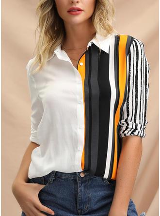 Prążki Klapa Długie rękawy Zapięcie na guzik Casual Elegancki Bluski koszulowe