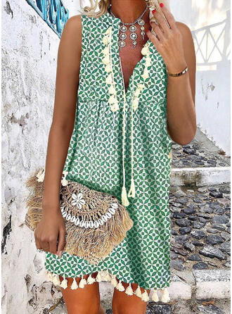 Print/Tassel Sleeveless Shift Knee Length Casual/Vacation Dresses