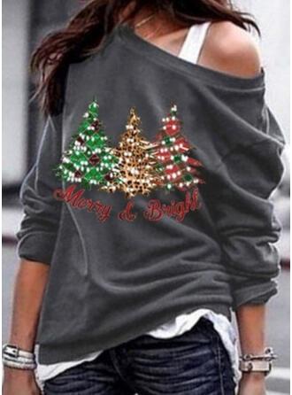 Nadruk Na jedno ramię Długie rękawy Casual Boże Narodzenie Bluzki