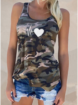 Print Heart Round Neck Short Sleeves Casual Tank Tops