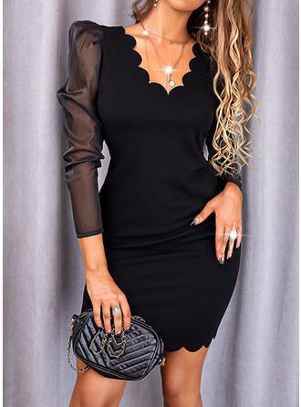 Jednolity Długie rękawy shim sleeve Bodycon Nad kolana Mała czarna/Elegancki Sukienki