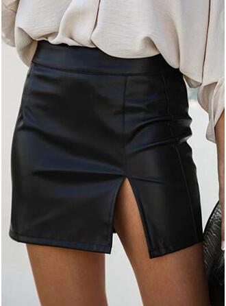 Skóra / PU Równina Mini Spódnice ołówkowe