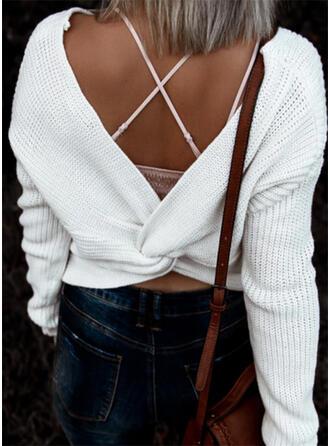 Jednolity Dekolt w kształcie litery V Casual Seksowny Swetry