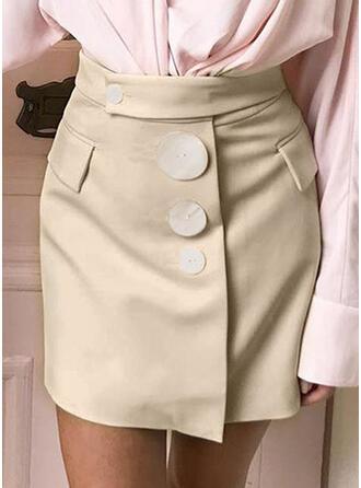 Poliester Równina Nad kolanem Spódnice ołówkowe