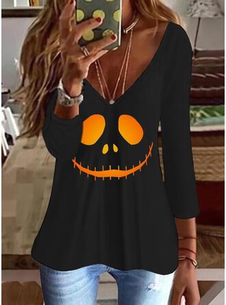 Halloween Nadruk Dekolt w kształcie litery V Rękawy 3/4 T-shirty